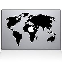 World Map Removable Vinyl Decal Sticker Skin for Apple Macbook Pro 13 inch (Pre-2016 model) Laptop in Black