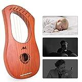 AKLOT Lyre Harp, 7 Metal String Bone Saddle