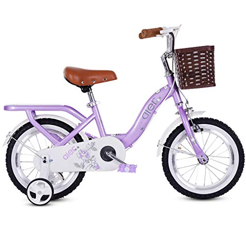 2-10 Year Old Children's Bicycle,Kids Bikes,Girl Pedal Tricycle, Carbon Steel Frame, 4 Sizes (12 Inches / 14 Inches / 16 Inches/18 Inches) Purple (Size : 18 inches)