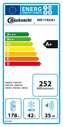 Bauknecht KDI 1142 Kühl-Gefrier-Kombination / A+ / 144,1 cm Höhe / 252 kWh/Jahr / 178L Kühlteil / 42L Gefrierteil / Flüsterleise mit nur 35 dB / Nische 145 cm / weiß