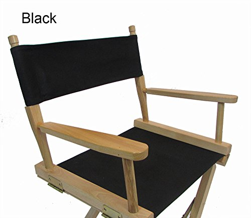 (Replacement Cover Canvas for Directors Chair (Round Stick) - Black)