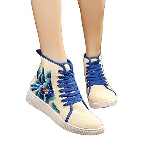 Avacostume Damesschoenen Borduren Hete Boren Flats Wandelschoenen Sneaker Schoenen Blauw