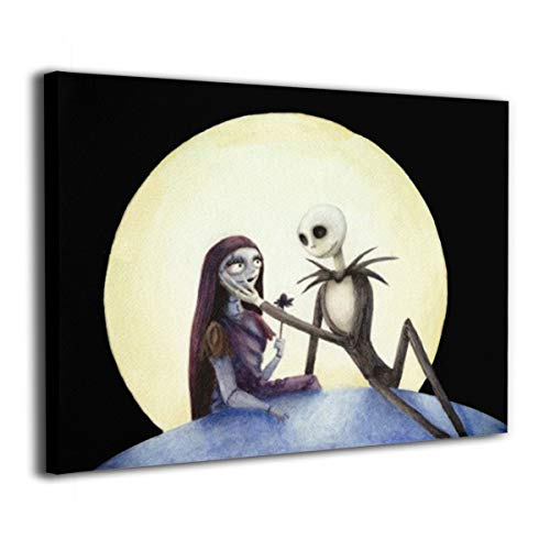 Zong Ten 12 X 16 Inch Paintings Jack and Sally Nightmare Before Christmas Contemporary Artwork Abstract Art Wall Art Living Room Artwork On Canvas Ready to Hang Framed Art Bedroom Living Room ()