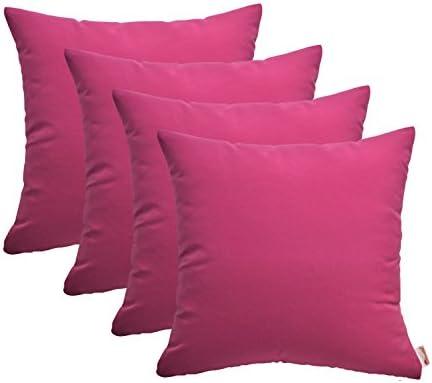 RSH D cor Set of 4 Indoor Outdoor Decorative Throw Pillows Sunbrella Canvas Hot Pink – Choose Size 20 x 20