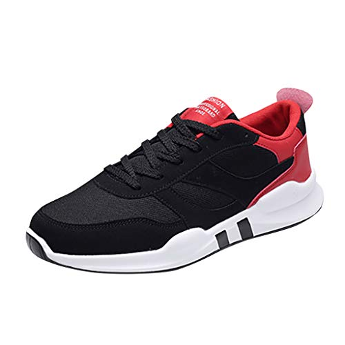 Sneakers for Men, Caopixx Men's Elastic Casual Sport Athletic Breathable Running Outdoor Shoes Red -