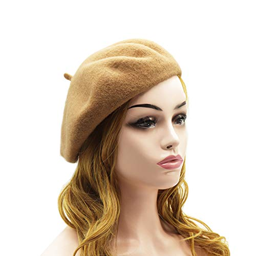 Wheebo Wool Beret Hat,Solid Color French Style Winter Warm Cap for Women Girls - Camel Wool Tan