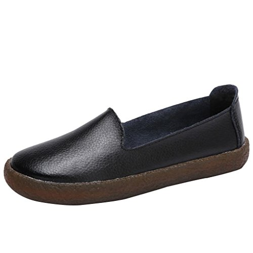 Kinrui Womens Flats Lace-up Muffin Sneakers Leather Casual Shoes Creepers Moccasins (Black, US:7) by Kinrui