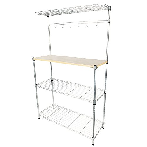 TimmyHouse Bakers Rack Storage Rack Microwave Oven Stand w/Cutting Board Chrome 4-Tier]()