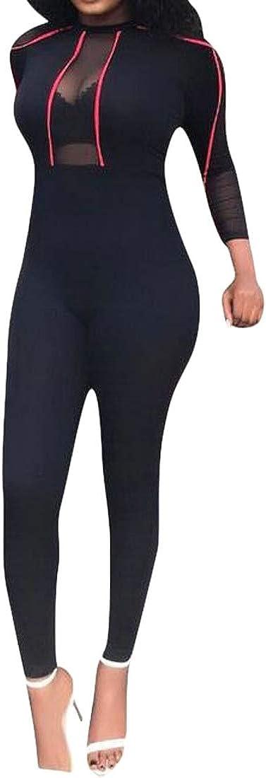 Etecredpow Women Slim Club Long-Sleeve Transparent Long Sleeve Rompers Jumpsuits