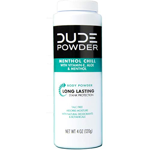 DUDE Body Powder, Menthol Chill 4 Ounce Bottle Natural Deodorizers Cooling Menthol & Aloe, Talc Free Formula, Corn-Starch Based Daily Post-Shower Deodorizing Powder for Men ()