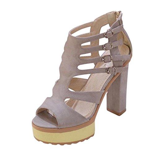Hee Grand Women Platform Pee-Toe Thick Heel Buckle Sandals US 5 Grey