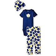 Gerber Baby Girls' 3 Piece Bodysuit, Cap and Legging Set, Flowers, 0-3 Months