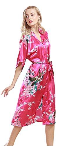 Silk Satin Kimono Robe for Women Short Sleeve Peacock Bloom NightWear RoseRed M (Red Bloom Spa)