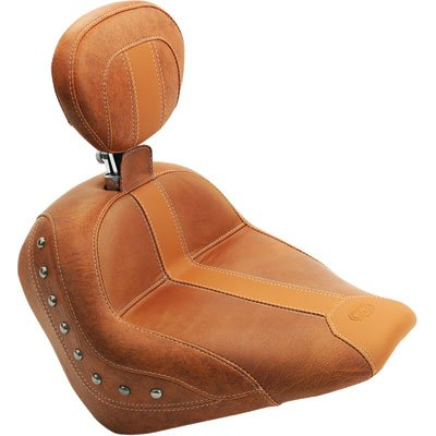 Mustang Brown Vinyl/Leather Insert Studded Solo Seat with Driver Backrest - Driver Solo Backrest