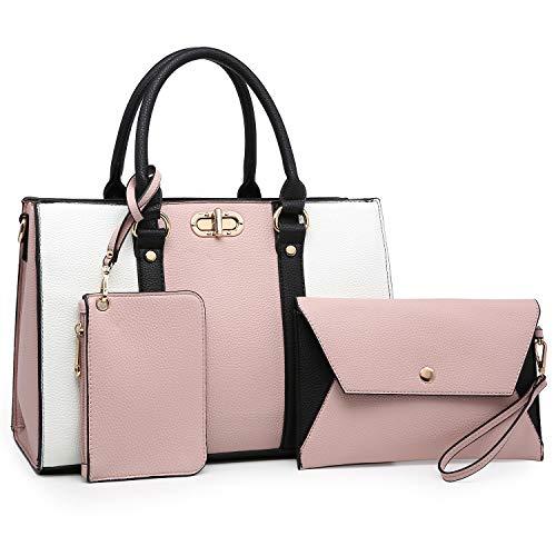 (MMK Women handbags Top handle Satchel bags for Ladies Set Vegan Leather purse/wallet(3 pieces set) (8010-Pink/White))