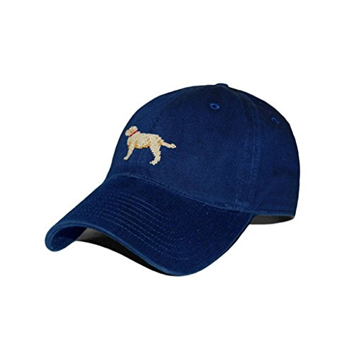 (Smathers and Branson Yellow Lab Needlepoint Hat In Navy)
