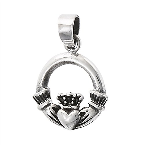 Open Claddagh Pendant .925 Sterling Silver Traditional Classic Heart Circle Charm Claddagh Circle Heart