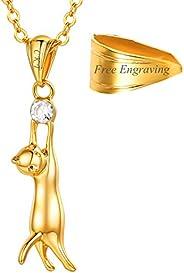 Colar de gato com strass U7 com corrente de platina/banhado a ouro 18 K Colar liso com pingente de clavícula