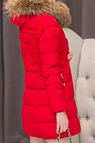 Femme Chemine Slim Hiver Stepp BOLAWOO Fourrure avec Blouson Fausse paissir en Capuche Longues Fit Mode Elgante Quilting Rouge Parka Taille Chaud Grande Manches Chic Outwear Longues FEqPdnPp