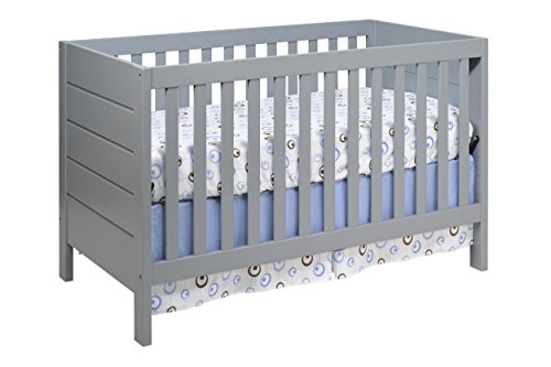 Baby Mod Modena 3-in-1 Convertible Crib with Toddler Bed Conversion Kit, Grey