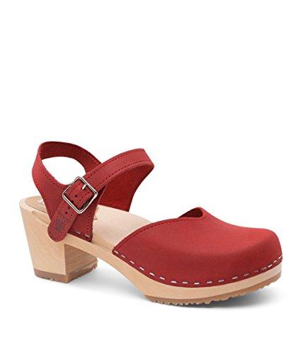 Wooden Heel Sandals Clog Sandgrens High Red Victoria Women Swedish for t74W4cR5T