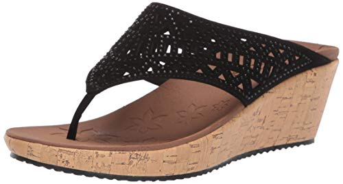 Buy womens thong wedge sandals black