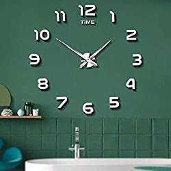 Mintime Frameless Large 3D DIY Wall Clock Mirror Stickers Home Office School Decoration (2-Year Warranty)