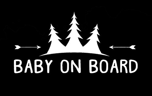 (Baby on Board Trees and Arrows Decal Vinyl Sticker|Cars Trucks Vans Walls Laptop| White |6.5 x 3.25 in|CCI1428)