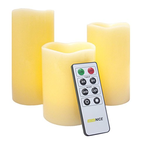 WoneNice Flameless Candles with Timer, Battery Operated LED Flickering Ivory Wax Pillar Candles, Decorations Candles Lights for Christmas, Parties, Events, Weddings, Set of -