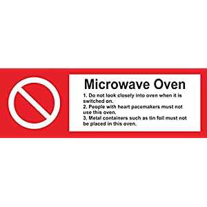 INDIGOS UG - Sticker - Safety - Warning - Set of 5 pack - Hygiene catering Microwave Oven safety sign - Self adhesive sticker 15x5cm - Decal for Office/Company/School/Hotel