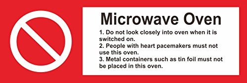 INDIGOS UG - Sticker - Safety - Warning - Hygiene Catering Microwave Oven Safety Sign - Self Adhesive Sticker 150mm x 50mm (Best Microwave Oven Uk)
