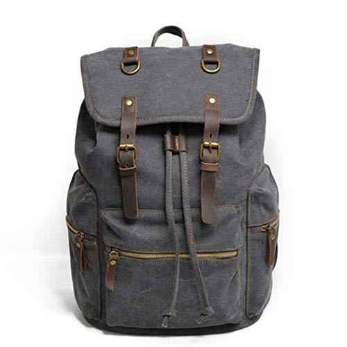 (AINiubia Large Capacity Pure Cotton Canvas Leather Backpack for Men Strings Rucksacks Teenager Laptop Daypacks Dark Grey)