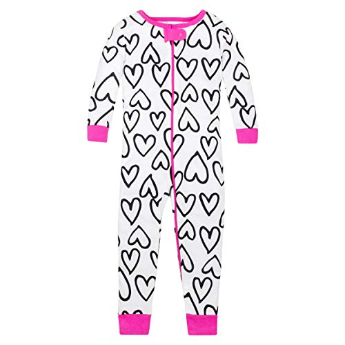 LAMAZE Organic Baby/Toddler Girl, Boy, Unisex Stretchie Pajamas, Pink Hearts, 18M