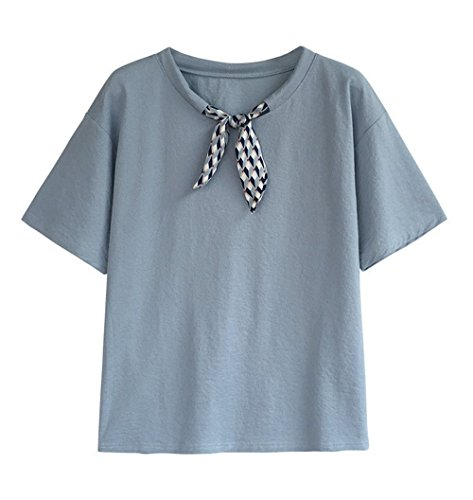 con Tumblr Jungen Maglietta Casual Blu Estivo Camicie Blusa Blouse Fiocco Corta Donne Sciolto Tops Shirt Tee Manica T Moda TxCECv5qw