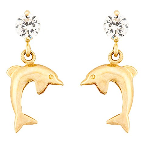14K Gold Dangle Dolphin Stud Kids Earrings With Safety Screw Backs (yellow-gold)