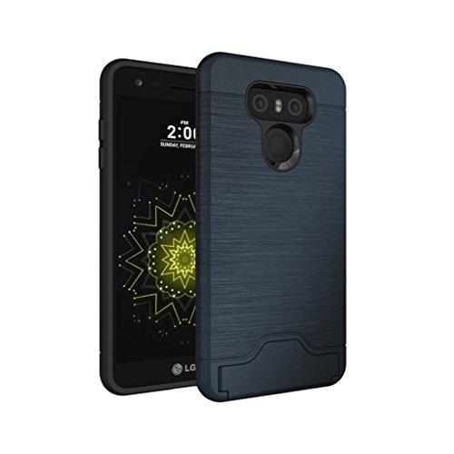 Trumpshop Smartphone Carcasa Funda Protección para LG G6 + Negro + Fina de PC y TPU Silicona Caja Protectora Función de Soporte Ranuras para Tarjetas Azul Profundo