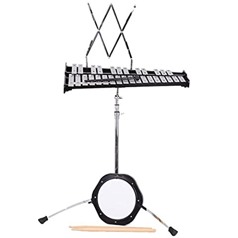 Iglobalbuy 30 Note Educational Percussion Glockenspiel Bell Kit W/Practice Pad , Mallets, Sticks, Stand, Carrying - Keyboard Mallet Bag