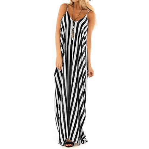 TOTOD Fashion Women Sundress Summer Holiday Strappy Striped Long Boho Dress Beach Maxi Dress Black