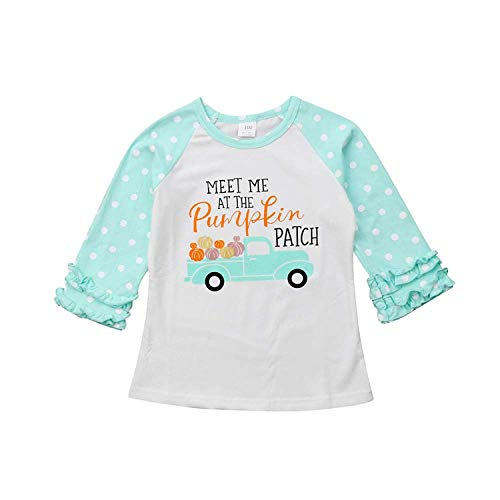 Baby Kids Girl Unicorn Halloween Pumpkin Car Print Ruffle Polka Dot Long Sleeve Cotton T-Shirt Top Outfits (Blue, 4T)]()