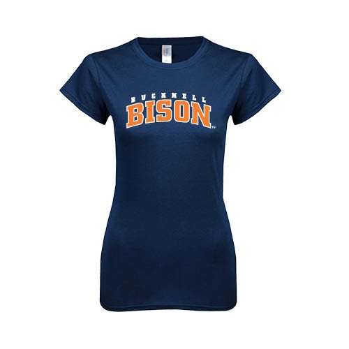 Bucknell Next Level Ladies SoftStyle Junior Fitted Navy Tee 'Bucknell Bison Arched'