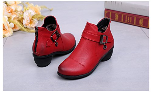 Abby 6827 Womens Ballroom Casual Rumba Closed Toe Flat Cozy Mid Top Boots Square Modern Dance Shoes Red V6Yak