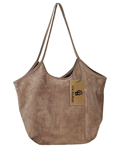 Leather Suede Tote (Womens Handbag Purse Tote Hobo Shoulder Bags Ultra-light Soft Suede,Khaki)