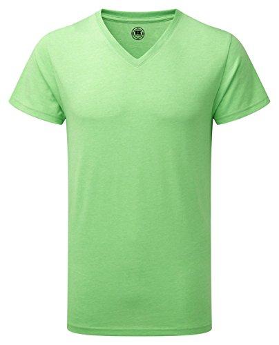 Russell Mens Short Sleeve V-Neck HD T-Shirt (XS) (Green Marl)