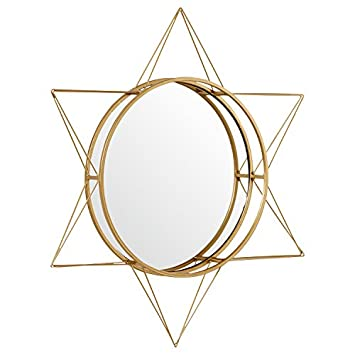 Rivet Modern 3-D Star Shaped Metal Mirror Home Decor, 22.5 Inch Height, Gold Finish