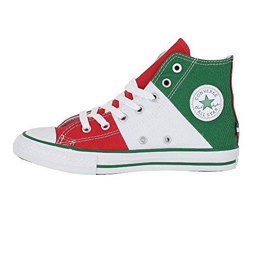 KIDS CONVERSE ALL STAR HI TRI PANEL MEXICO SHOES GREEN WHITE RED SIZE 3 - Image 2