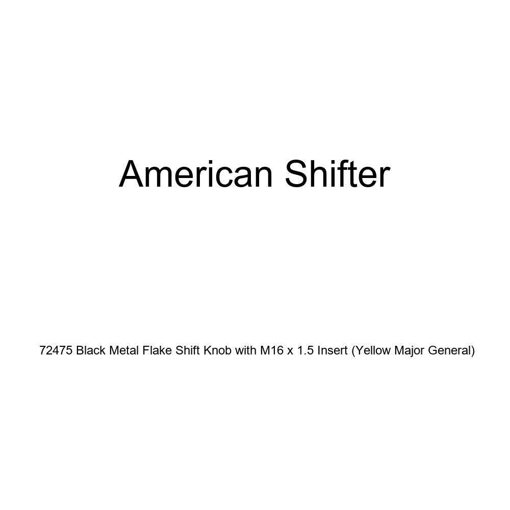 Yellow Major General American Shifter 72475 Black Metal Flake Shift Knob with M16 x 1.5 Insert