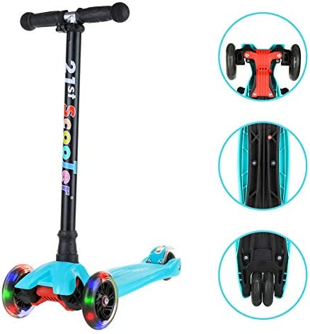 Kick Scooters for Kids, Lean-to-Steer 3 Wheel Scooter with Adjustable Height Extra Wide Deck PU LED Flashing Light Up Wheels for Children Boys Girls Toddlers from 3 to 13 Years Old