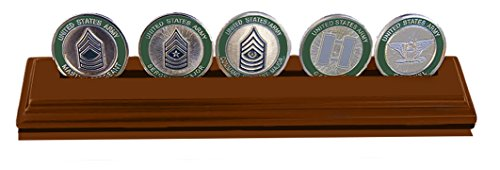 Row Display Coin (DECOMIL Military Collectible Challenge Coin Holder (Medium, 1 Rows) Solid Walnut ...)
