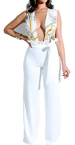 HannahZone Women's Casual Sleeveless Floral Jumpsuit Sexy V Neck Wide Leg Long Pants Rompers with Belt