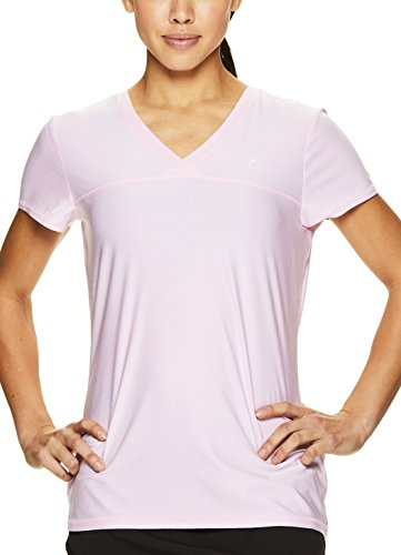 HEAD Women's High Jump Short Sleeve Workout T-Shirt - Performance V-Neck Activewear Top - Cherry Blossom Heather, X-Small by HEAD (Image #4)